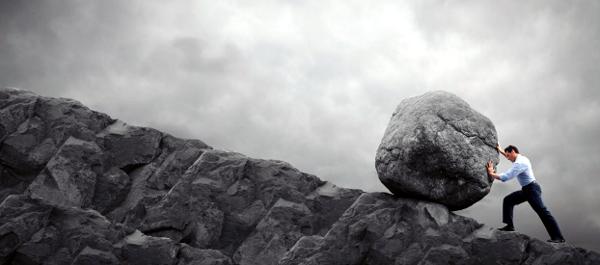Hardwork and Success - Push gigantic bolder uphill